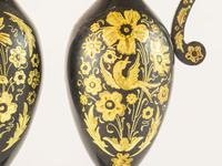 Pair of Black Metal Ewers With Gold Inlay (3 of 5)