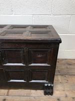 Antique Rare 17th Century Oak Coffer with Block Paw Feet (M-716) (2 of 16)