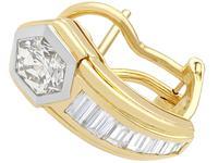 2.17ct Diamond & 18ct Yellow Gold Earrings - Vintage c.1950 (3 of 9)
