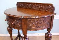 Antique Jacobean Style Carved Oak Demi Lune Side Table (6 of 8)