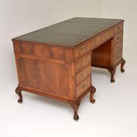 Large Antique Walnut Leather Top Pedestal Desk (9 of 12)