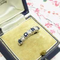 Vintage 18ct white gold Sapphire & Diamond seven stone ring (6 of 10)