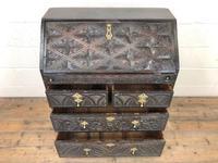 Antique Carved Oak Bureau (3 of 14)