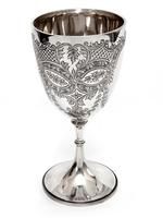 Edwardian Silver Goblet Engraved on the Bowl with Scrolls, Floral Motifs and Garlands (2 of 6)