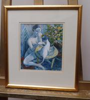 Watercolour Nude with Cat Listed Artist James Gorman (13 of 14)