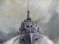 Oil on Board The Battle Ship Listed Artist Dion Pears (10 of 12)
