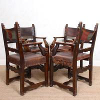 4 Dining Chairs Ships Nautical Chairs Oak Leather 19th Century (6 of 10)