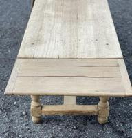 Large Bleached Oak Farmhouse Dining Table with Extensions & Storage (30 of 35)