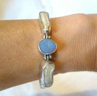 "Vintage Silver Opal & Blister Pearl Bracelet 1970s 7 3/4"" Length 15.6 Grams (2 of 12)"