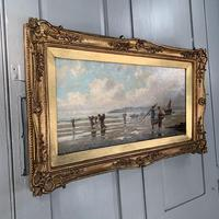 Antique marine seascape oil painting of fishing scene signed W Richards 2 of 2 (3 of 10)