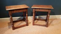 Matching Pair of Antique Oak Joint Stools (7 of 7)
