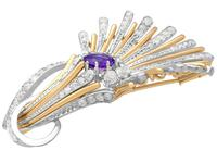 1.01ct Amethyst and 1.69ct Diamond, Platinum and 14ct Yellow Gold Brooch - Art Deco - Vintage Circa 1940 (8 of 9)