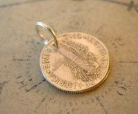 Vintage Pocket Watch Chain Fob 1943 WW2 American Liberty One Dime Coin Fob (4 of 6)