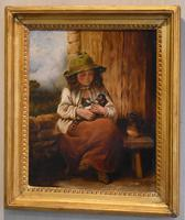 Victorian Oil Painting of a Girl with Kitten (2 of 6)