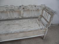 Shabby Chic White 3 Seater Antique Pine Kitchen/ Hall Box Settle / Bench (3 of 10)