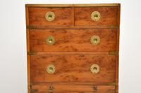 Antique Yew Wood Military Campaign Chest of Drawers (3 of 13)