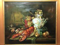 German 20th Century Oil Painting Banquet Red Lobster Serving Tray Peaches Grapes (16 of 23)