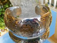 Rare Stunning Art Deco Solid Silver & 18k Gold Shield Mounted Bracelet / Bangle (8 of 8)