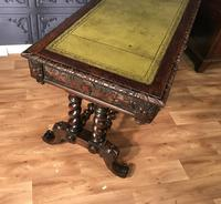 Victorian Carved Oak Desk Library Table (12 of 25)