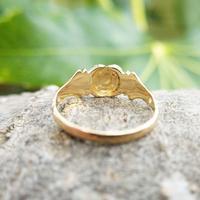 Antique 18ct Yellow Gold Garnet & Pearl Locket Ring (8 of 10)