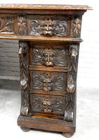Small Carved Oak Green Man Desk (2 of 10)