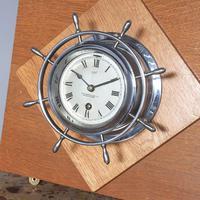 Pair of Chrome Ships Bulkhead Clock & Barometer c.1930 (4 of 4)