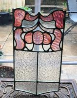 Antique Stained Glass Panel with Pink Glass Detail (5 of 10)