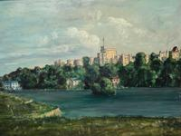 "Fine 20th Century Oil Painting Royal Windsor Castle ""View From The Thames"" (2 of 12)"