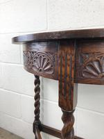Antique Carved Oak Demi Lune Hall Table (6 of 10)