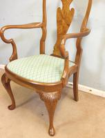 Set of Eight Queen Anne Style Walnut Dining Chairs (10 of 15)