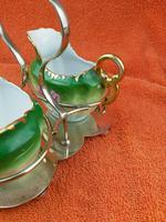 Antique Bone China Milk Jug & Sugar Bowl in Silver Pate Carry Stand C1890 (10 of 12)