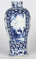 Chinese Pair of Large Blue & White Panel Vases with Figures Qing Dynasty (14 of 25)