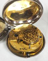 Antique Silver Pair of Case Pocket Watch Fusee Verge Escapement Key Wind Enamel Dial Thomas Cooker Oakham (9 of 12)