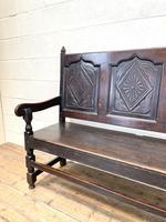 Antique Carved Oak Settle Bench (5 of 10)