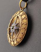 Victorian Diamond Star Pendant, Blue Enamel, 9ct Gold (6 of 11)