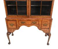 Antique Walnut Cabinet Bookcase Queen Anne Domed (2 of 11)