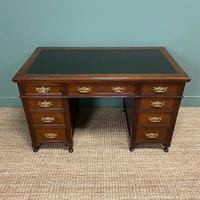 Stunning Victorian Maple & Co Antique Oak Pedestal Desk (7 of 7)