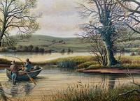 Fishing The River Ouse - Lovely Vintage North Yorkshire Riverscape Oil Painting (7 of 12)