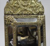 Small 19th Century French Repoussé Brass Cushion Mirror (3 of 7)