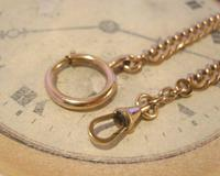 Antique Pocket Watch Chain 1890s French Victorian 14ct Rose Gold Filled Albert (7 of 12)