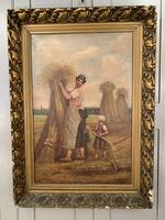 Antique French oil painting landscape harvest scene signed E Cornaud dated 1888 (7 of 10)