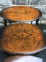 Antique Nest of 3 Figured Walnut Tables (6 of 7)
