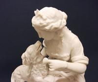 Superb English Parianware Group of a Young Lady Feeding Her Dog a Biscuit, c.1870 (9 of 12)