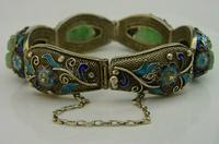 Superb Chinese Solid Silver Gilt Enamel & Jade Bracelet c.1920 Antique (5 of 12)