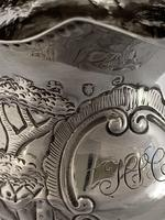 George III Antique Silver Cream Jug 1780 London Maker BM Embossed Dogs & Birds (3 of 12)