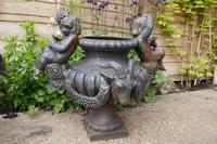 Pair of Cast Iron Garden Urns with Cherubs & Rams Heads (6 of 8)