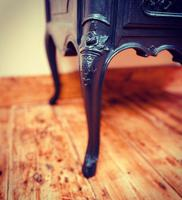 French Antique Style Cabinet / Black Cupboard / Louis XV Style (3 of 10)
