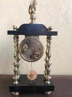 Rare Antique French Small Portico Alarm Clock (4 of 7)