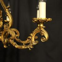 French Gilded Bronze 8 Light Rococo Chandelier c.1930 (3 of 10)
