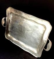 Arts and Crafts  Planished Silver Plate Butlers Tray (2 of 4)